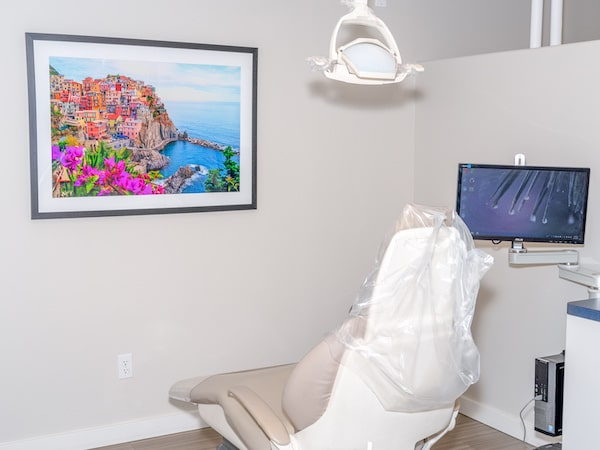 Dentist chair in the middle of a treatment room